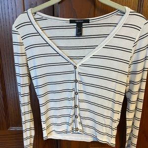 Forever 21 ribbed long sleeve with stripes